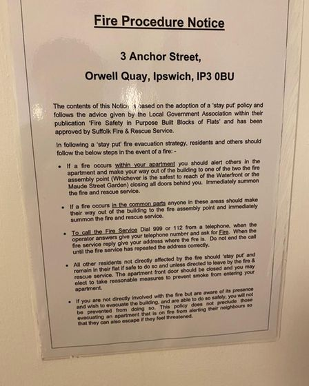 The stay put fire procedure notice inside 3 Anchor Street