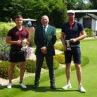 Laurie Olive (left) and Rich Vowles (right) flank captain Dave Skelton at Wedmore Golf Club
