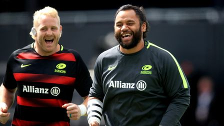 Saracens' Billy Vunipola (right) and Vincent Koch warm up prior to the beginning of the Gallagher Pr