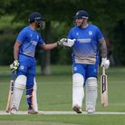 P Gupta (L) and A Ison enjoy a useful partnership for Upminster during Upminster CC vs Fives & Heron