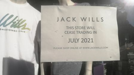 Closing down signs at jack wills in Norwich