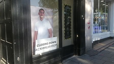 Closing down signs have appeared on the Jack Wills shop front