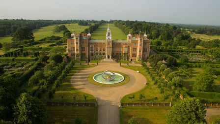 Hatfield House and gardens from the air looking towards the North Front