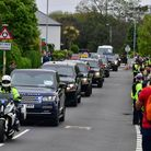 The US motorcade carrying US President Joe Biden after leaving Tregenna Castle on its way to the Car