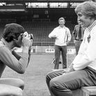 Norwich City Manager John Bond (right) being photographed by goal keeper Kevin Keelan library pic