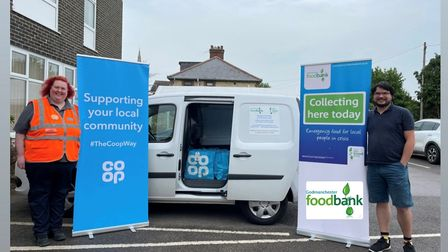 Hannah Tuck, Member Pioneer for the Godmanchester Co-Op and Joseph George, a volunteer at the Godmanchester FoodBank.