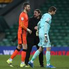 Tim Krul of Norwich, Angus Gunn of Stoke City and Norwich Head Coach Daniel Farke at the end of the