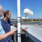 CHPV Media's Dr Andrew Pinder, left, and James Bass installing the first of two time lapse cameras.