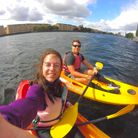 Zoe Barmes in a kayak ahead of her challenge with charity Climbing Out, with partner Zak Shafique