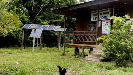A solar-powered satellite communication system installed in Tayakome