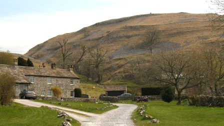 Conistone village looking up to Davy Dimple cairn