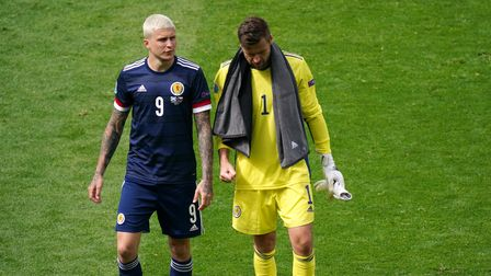 Scotland goalkeeper David Marshall and Lyndon Dykes appear dejected after the UEFA Euro 2020 Group D