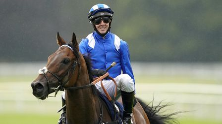 Jim Crowley on board Battaash after winning the Coolmore Nunthorpe Stakes at York Racecourse