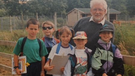 Ralph Brackenbury with Woodlands Middle School pupils in the 1990s on a school trip.