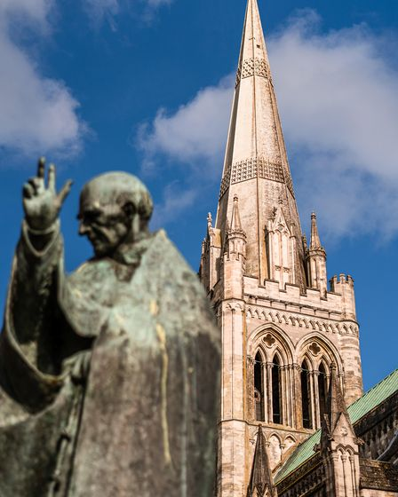 Philip Jackson's statue of Saint Richard outside Chichester Cathedral