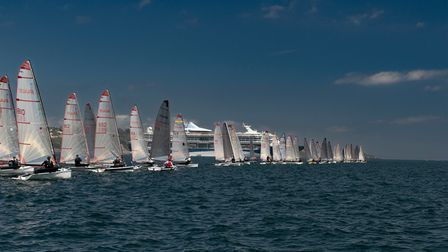 Sailors at the start of a race