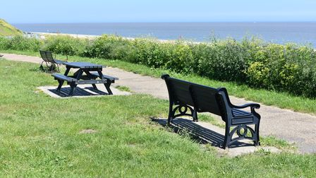 Memorial benches in Pakefield, Lowestoft.
