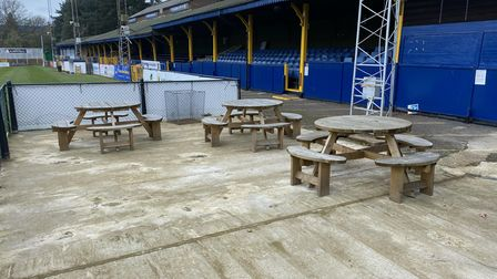 The pitchside bar at St Albans City FC.