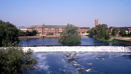 Looking towards Council House, by the River Derwent in Derby