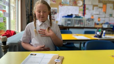 Freya Black in a mindfulness lesson at Holbrook Primary School, Suffolk