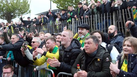 Norwich fans gather outside Carrow Road after their team wins the Championship after the Sky Bet Cha