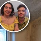 Magdalena Meza Mitcher and Ben Skelton, inset against the mould at their previous property