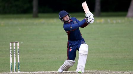 Jonathan Das in batting action for Wanstead during Harold Wood CC (fielding) vs Wanstead and Snaresb