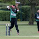 Akhil Anil in bowling action for Ilford during Upminster CC (batting) vs Ilford CC, Hamro Foundation
