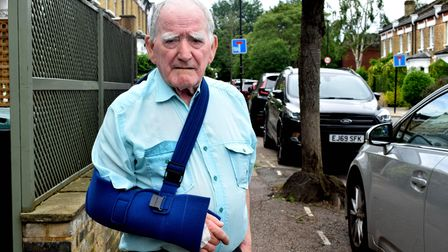 Thomas O'Neill , 82,after receiving treatment at the Whittington Hospital following a collision in Park Road