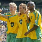 Darren Huckerby (centre) celebrates his goal along with Mathias Svensson (left) and Damian Francis (