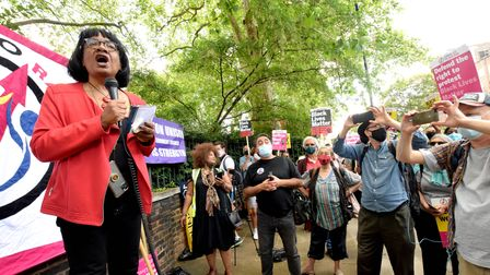 Protesters are demanding the removal of the statue of Robert Geffrye.