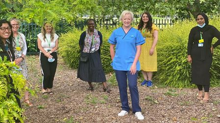 Chief Nursing Officer for England Ruth May withNewham specialist children's and young people's service nurses.