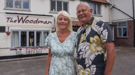 Debbie and Donald Pearce, managers at The Woodman pub on North Walsham Road in Norwich which has re-