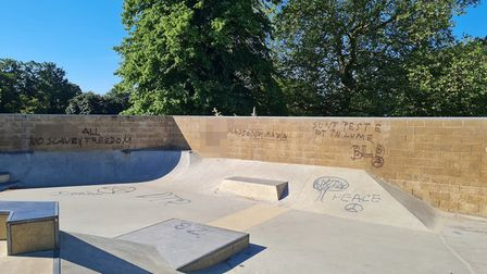 Some of the graffiti sprayed at Whitehouse Park in Ipswich