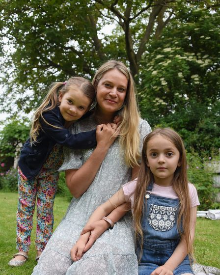 Chantel Beck with her daughters, Bonnie, five, left, and six-year-old Beau who has a nut allergy, in