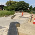 The graffiti team at work removing the spray paint from the skatepark at Whitehouse Park in Ipswich