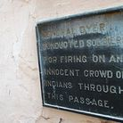 A plaque commemorating the 1919 Amritsar Massacre - where British soldiers murdered at least 379 people