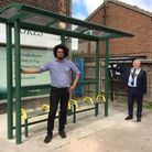Cllr Sam Collins and Mayor Cllr Mark Hughes at the newly installed bus shelter in Royston