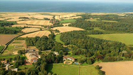 Aerial shot of Kelling Estate with Kelling Hall in the centre of the pic. For Caroline Culot.