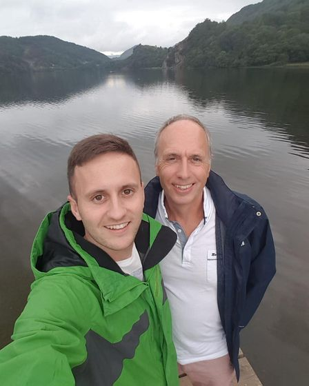 Tom pictured with his dad Steve, who he climbed Snowdon and Ben Nevis with.