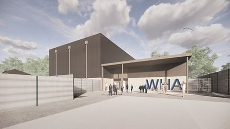 The proposed sports hall entrance to Winterstoke Hundred Academy.
