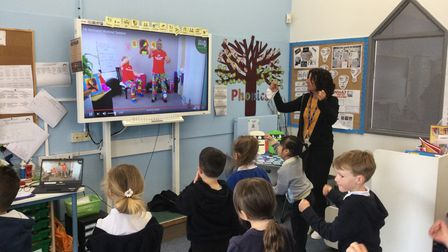Primary school pupils had a virtual visit from Mr Motivator.