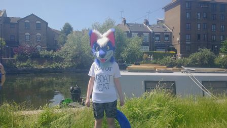 A protester dressed as a boat cat on June 13.
