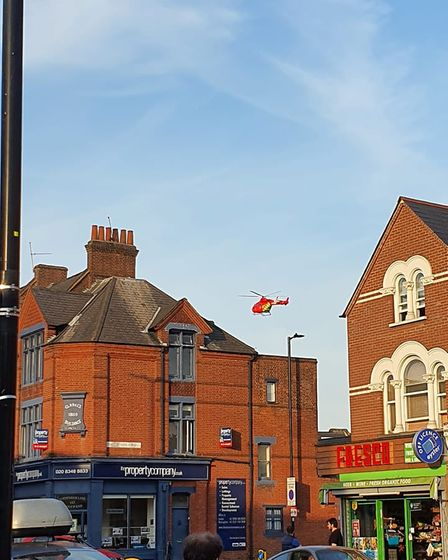 The London Air Ambulance over Crouch End and Hornsey in the aftermath of a stabbing on Tuesday June 15