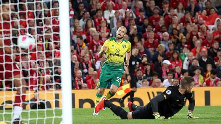 Teemu Pukki of Norwich celebrates scoring his sides 1st goal during the Premier League match at Anfi