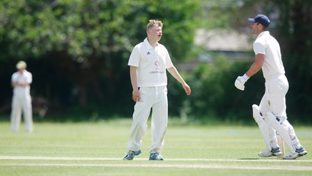 Letchworth V Dunstable - George Crouch bowling for Letchworth.Picture: Karyn Haddon