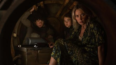 Marcus (Noah Jupe), Regan (Millicent Simmonds), and Evelyn (Emily Blunt)in A Quiet Place Part II.