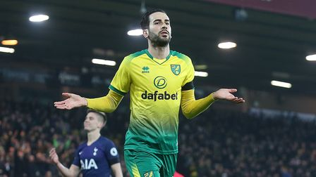 Mario Vrancic of Norwich celebrates scoring his sides 1st goal during the Premier League match at Ca