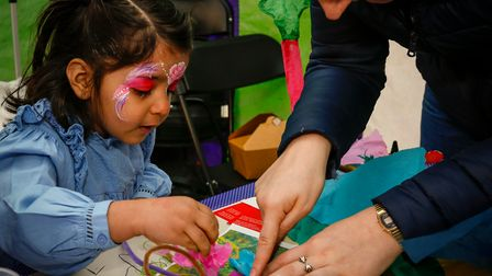 Child taking part in a workshop at The Festival of the Earth in Wakefield