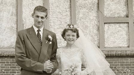 Jack and Barbara Wells on their wedding day in Great Yarmouth.